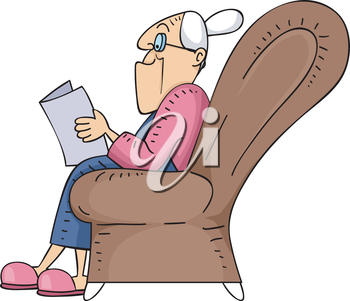 Illustration of an Elderly Woman Reading a Book