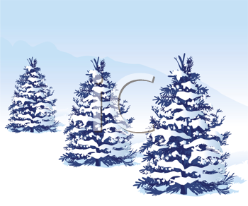 Royalty Free Clipart Image of Three Snow-Covered Trees