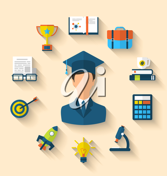 Illustration flat icons of magister and objects for high school and college education with teaching and learning, long shadow style design - vector