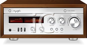 Royalty Free Clipart Image of a Vintage Hi-Fi Analog Stereo Amplifier