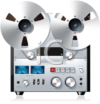 Royalty Free Clipart Image of a Vintage Hi-Fi Analog Stereo Recorder