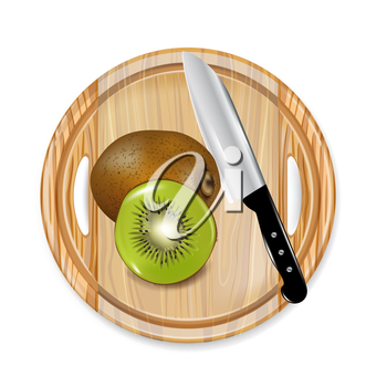 wooden board with sliced kiwi fruit and knife isolated