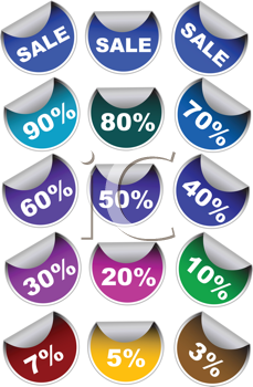 Royalty Free Clipart Image of a Set of Sale Stickers