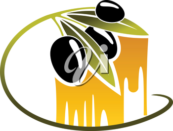 Curving green leafy twigs with three black olives over golden dripping olive oil, cartoon illustration isolated on white