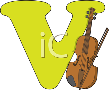 Royalty Free Clipart Image of a V With a Violin