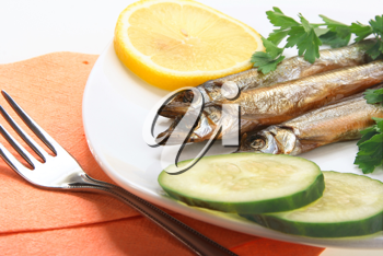 Smoked fishes with lemon, cucumber and green parsley on white plate. Close-up. Studio photography.