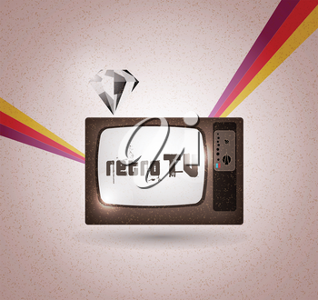 Royalty Free Clipart Image of a Retro Television Set
