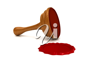 Royalty Free Clipart Image of a Red Wax Seal