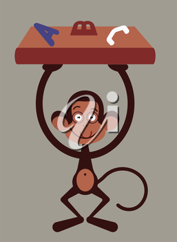 Monkey with pensil - back to school illustration