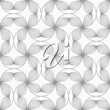 Gray seamless geometrical pattern. Simple monochrome texture. Abstract background.Slim gray striped four pedal flowers connected.