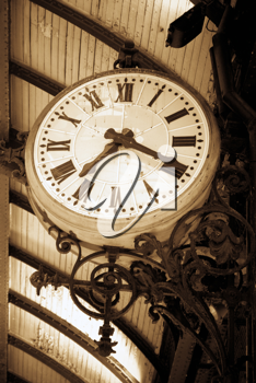 An Ancient clock in a railway station