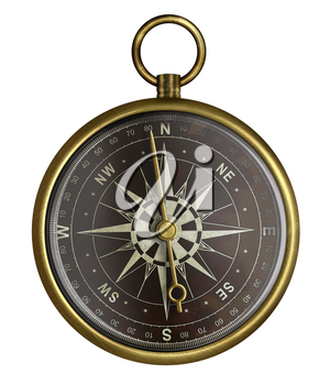 brass antique compass with dark face isolated on white