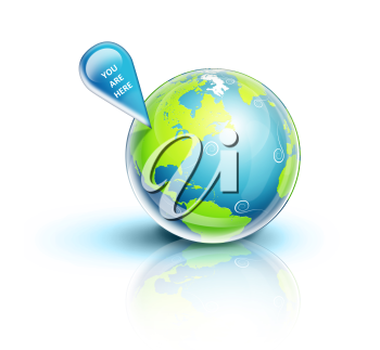 Royalty Free Clipart Image of a Globe With a Location Indicator