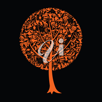 Tree made from Halloween. A vector illustration