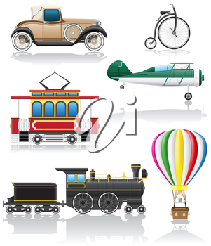 set icons old retro transport vector illustration isolated on white background
