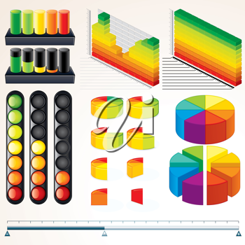 Chart, Graph and Scales. Set of Vector Infographics Elements for your Design.