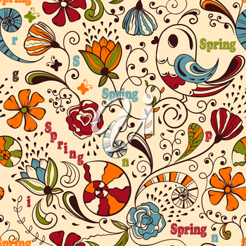 Royalty Free Clipart Image of a Background of Spring Items