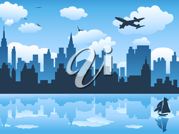 Royalty Free Clipart Image of a City Skyline