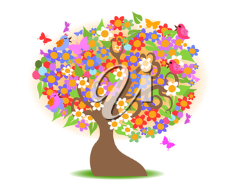 Royalty Free Clipart Image of a Floral Tree