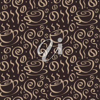 Abstract Coffee background. Seamless Vector Illustration.