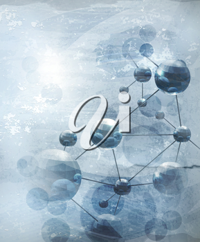 Background with molecules blue, old-style vector