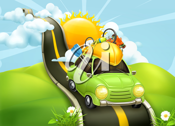 Traveling by car, vector illustration