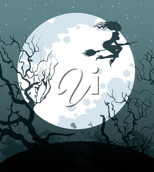 Vector illustration of Halloween background with witch