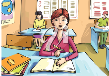 The girl is studying in the classroom.