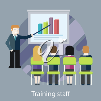 Concept of reason for a business meeting. Training staff. People in the hall are listening to the lecturer. For web design, analytics, graphic design, in flat design style.