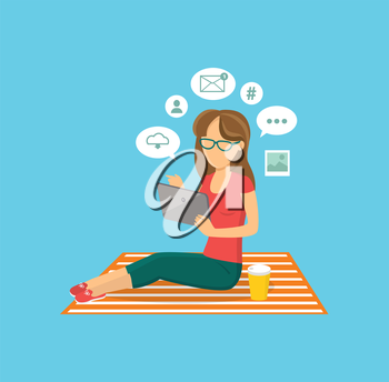 Internet user woman with tablet. Internet and user, woman and computer user, social media, web user, tablet technology, computer user, communication user, person girl user working illustration