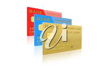 image of three credit cards isolated on white background