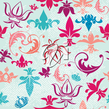 Seamless pattern with vintage heraldic silhouettes elements - icons of crowns and fleur de lis