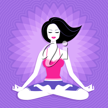 Young woman. Meditation. Vector illustration.