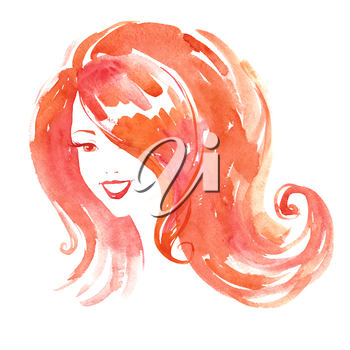 Watercolor portrait of young smiling woman. Vector illustration.