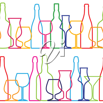 Vector Illustration of Silhouette Alcohol Bottle Seamless Pattern Background EPS10