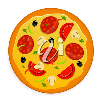Colored Food. Pizza Icon Vector Illustration. EPS10