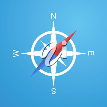Simple compass icon, 2d flat illustration, vector, eps 8