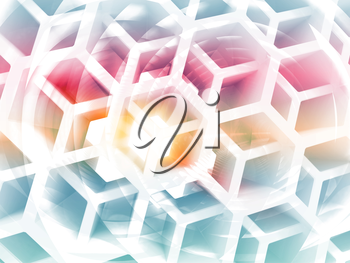 Abstract 3d colorful background with white honeycomb structure