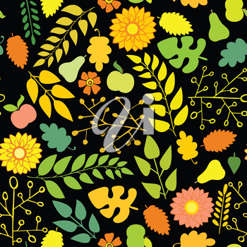 Seamless autumn pattern with flowers and foliage on a black background